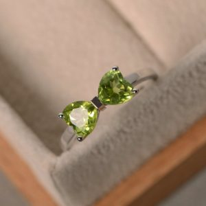 Natural Peridot Ring, Heart Peridot, Double Stone Ring, Promise Ring