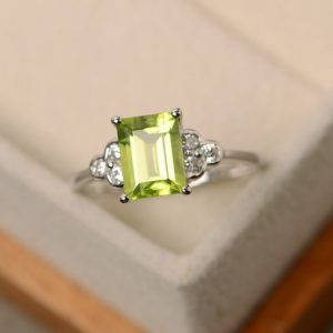 Peridot Ring, Promise Ring, August Birthstone, Rectangle Ring