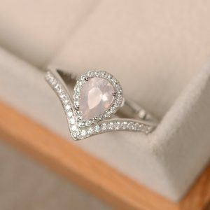 Pink Quartz Ring, Pear Cut, Pink Crystal