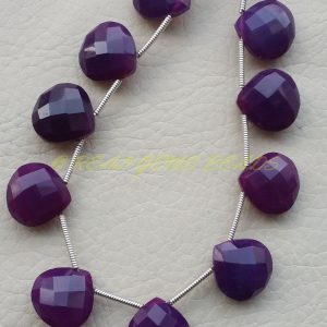 Purple Amethyst Chalcedony Hearts, Chalcedony Faceted Heart Shape Briolettes, 14 Mm Size, 10 Pieces, Loose Gemstone Beads, Best Quality