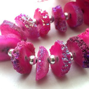Shop Quartz Chip & Nugget Beads! Hot Pink Solar Quartz, Rough Solar Quartz Colored Slices, Drilled Solar Quartz, Solar Quartz Necklace, 12-15mm Approx, 8 Inch Strand, 24 Pcs | Natural genuine chip Quartz beads for beading and jewelry making.  #jewelry #beads #beadedjewelry #diyjewelry #jewelrymaking #beadstore #beading #affiliate #ad