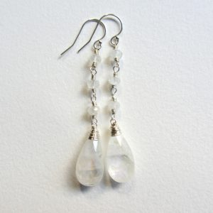 Rainbow Moonstone Bridal Earrings – Sterling Silver Wire Wrapped Long Dangle And Drop Earrings – White Wedding Jewelry – Natural Gemstones
