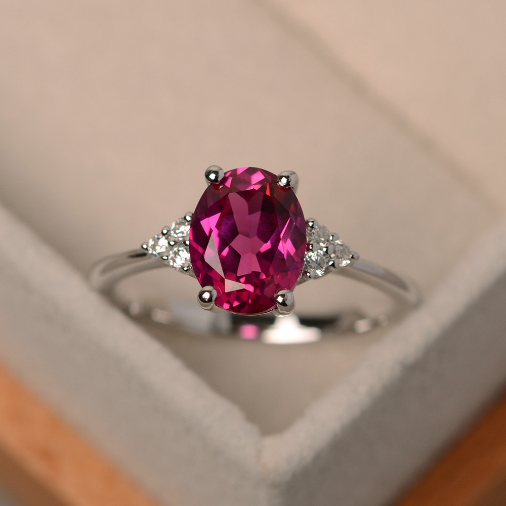 Ruby Ring, Ruby Engagement Rings, Oval Cut, Silver