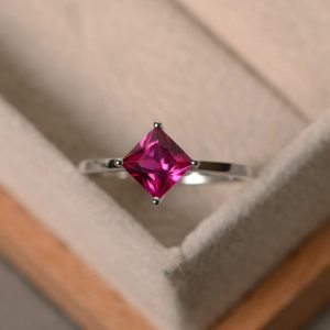 Lab Ruby Ring, Princess Cut, July Birthstone, Solitaire Ring