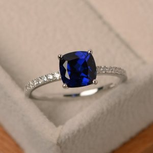 Sapphire ring, engagement ring, sterling silver, cushion cut, blue gemstone ring, sapphire jewelry | Natural genuine Gemstone rings, simple unique alternative gemstone engagement rings. #rings #jewelry #bridal #wedding #jewelryaccessories #engagementrings #weddingideas #affiliate #ad