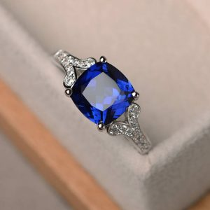 lab sapphire ring, cushion cut engagement promise ring, sterling silver ring,blue gemstone ring,September birthstone ring | Natural genuine Gemstone rings, simple unique alternative gemstone engagement rings. #rings #jewelry #bridal #wedding #jewelryaccessories #engagementrings #weddingideas #affiliate #ad