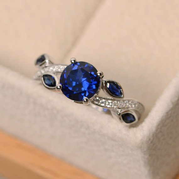 Sapphire Wedding Ring, Olive Branch Leaves Ring, Round Shaped Blue Stone, September Birthstone