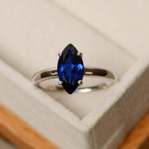 Shop Sapphire Rings! Marquise cut ring, sapphire ring, blue sapphire, solitaire ring | Natural genuine Sapphire rings, simple unique handcrafted gemstone rings. #rings #jewelry #shopping #gift #handmade #fashion #style #affiliate #ad