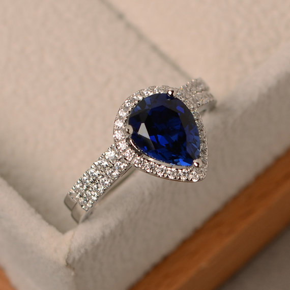 Handmade Blue Sapphire Ring, Engagement Ring, Water Drop Shaped, Solid Sterling Silver, Bridal Sets