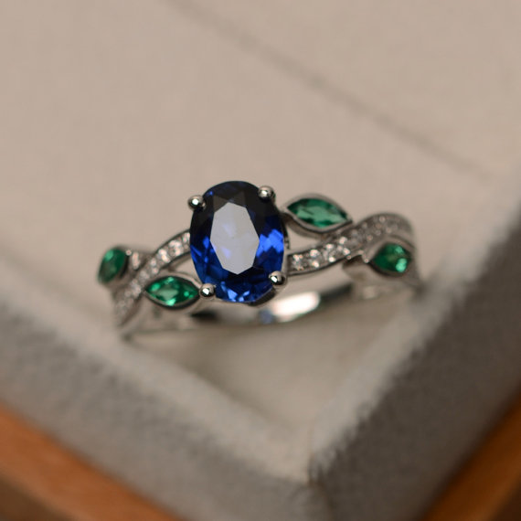 Sapphire Ring Silver, Leaf Ring, Multistone Ring, Blue Sapphire Ring, Sapphire Engagement Ring