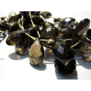 Smoky Quartz Briolettes – Faceted Briolettes, Pear Beads, Extra Huge Aaa – 22x15mm To 13x10mm Each – 8 Pieces