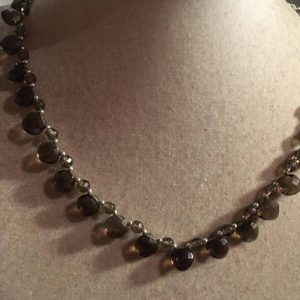 Brown Smoky Quartz Necklace – Sterling Silver Jewelry – Gemstone Jewellery – Bib – Chain