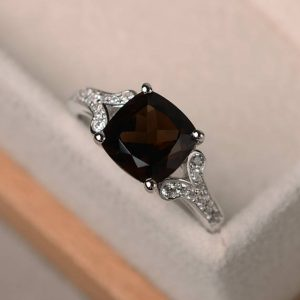 natural smoky quartz  ring, cushion cut anniversary promise ring, sterling silver ring,gemstone ring