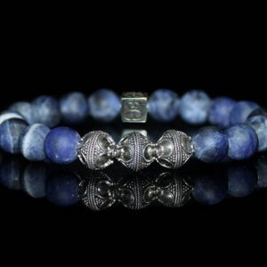 Shop Sodalite Jewelry! Matte Sodalite and Sterling Silver Bracelet, Men's Sodalite Bracelet, Men's Designer Bracelet, Men's Luxury Bracelet, Bead Bracelets Men | Natural genuine Sodalite jewelry. Buy crystal jewelry, handmade handcrafted artisan jewelry for women.  Unique handmade gift ideas. #jewelry #beadedjewelry #beadedjewelry #gift #shopping #handmadejewelry #fashion #style #product #jewelry #affiliate #ad
