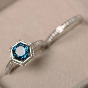 Shop Topaz Jewelry! London blue topaz ring, engagement ring, sterling silver, promise ring, blue gemstone, wedding ring | Natural genuine gemstone jewelry in modern, chic, boho, elegant styles. Buy crystal handmade handcrafted artisan art jewelry & accessories. #jewelry #beaded #beadedjewelry #product #gifts #shopping #style #fashion #product