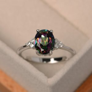 Mystic Topaz Ring, Rainbow Topaz Ring, Oval Cut, Promise Ring, Anniversary Gift, Silver Ring