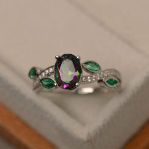 Mystic Topaz Ring Silver, Rainbow Topaz Ring, Multistone Rings, Sterling Silver, Oval Cut