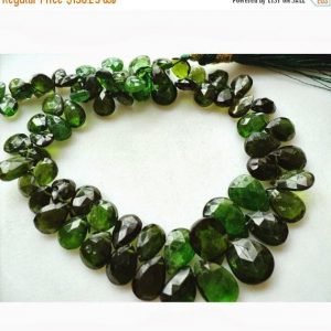 On Sale 55% Chrome Diopside Beads, Green Tourmaline, Faceted Pear Beads, Briolette Beads, 7x10mm To 4x6mm, 36 Pieces Approx