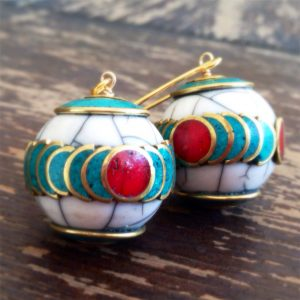 Turquoise Earrings – Red Coral Jewellery – Tibetan Bead Jewellery – Tribal – Gold – Long