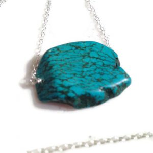Turquoise Necklace – Gemstone Jewelry – Sterling Silver Jewellery – Slab – Chunky – Mod