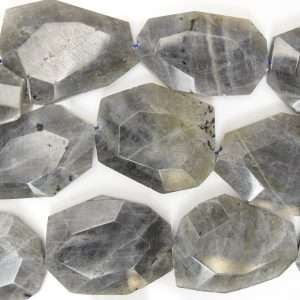 "25-35mm Faceted Grey Labradorite Freeform Slab Nugget Beads 15.5"" Strand 38545"
