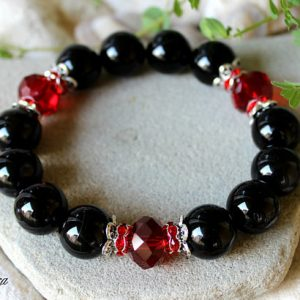 Shop Agate Bracelets! Black Agate Bracelet, 14mm Agate Bracelet, Black Red Bracelet, Chalcedony Bracelet, Agate Wrist Beads, Agate Wrist Mala, Black Agate Jewelry | Natural genuine Agate bracelets. Buy crystal jewelry, handmade handcrafted artisan jewelry for women.  Unique handmade gift ideas. #jewelry #beadedbracelets #beadedjewelry #gift #shopping #handmadejewelry #fashion #style #product #bracelets #affiliate #ad