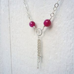 Hot Pink Necklace – Sterling Silver Tassel Jewellery – Fire Agate Gemstone Jewelry – Fuschia – Chain – Simple – Everyday N-29