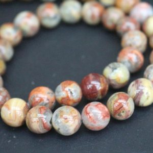 Red Crazy Lace Agate Beads,6mm/8mm/10mm/12mm Smooth And Round Stone Beads,15 Inches One Starand