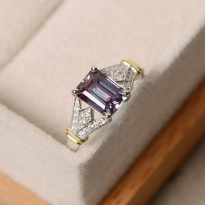 Alexandrite Ring, Sterling Silver, Yellow Gold, Wedding Ring