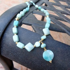 Blue Necklace – Amazonite Jewelry – Yellow Gold Jewellery – Gemstone – Gift Ideas For Her-  Pendant – Beaded N-55