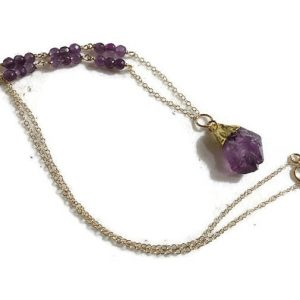 Shop Amethyst Necklaces! Amethyst Necklace – February Birthstone Jewelry – Purple Gemstone Jewellery – Gold Chain – Nugget Pendant | Natural genuine Amethyst necklaces. Buy crystal jewelry, handmade handcrafted artisan jewelry for women.  Unique handmade gift ideas. #jewelry #beadednecklaces #beadedjewelry #gift #shopping #handmadejewelry #fashion #style #product #necklaces #affiliate #ad