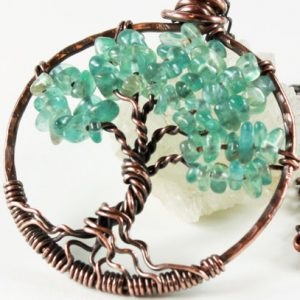 Tree Of Life Necklace, Blue Apatite Necklace, Copper Wire Work, Wire Wrapped, Teal Blue Gemstone, Talisman Necklace, Holiday Gift For Her