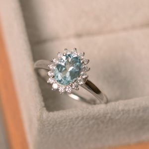 Genuine Aquamarine Ring, Oval Cut Aquamarine, March Birthstone Ring, Sterling Silver,
