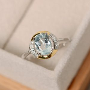 Shop Aquamarine Rings! Aquamarine ring, yellow gold, oval cut promise ring, sterling silver | Natural genuine Aquamarine rings, simple unique handcrafted gemstone rings. #rings #jewelry #shopping #gift #handmade #fashion #style #affiliate #ad