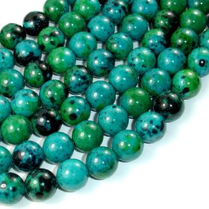 Shop Chrysocolla Round Beads! Chrysocolla, 12mm Round Beads , 15.5 Inch, Full strand, Approx 33 beads, Hole 1.2 mm, A quality, Reconstituted(196054012) | Natural genuine round Chrysocolla beads for beading and jewelry making.  #jewelry #beads #beadedjewelry #diyjewelry #jewelrymaking #beadstore #beading #affiliate #ad