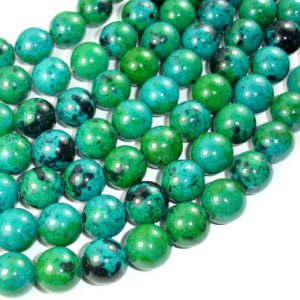 Shop Chrysocolla Round Beads! Chrysocolla, 14mm Round Beads , 15 Inch, Full strand, Approx 28 beads, Hole 1.2 mm, A quality, Reconstituted(196054013) | Natural genuine round Chrysocolla beads for beading and jewelry making.  #jewelry #beads #beadedjewelry #diyjewelry #jewelrymaking #beadstore #beading #affiliate #ad