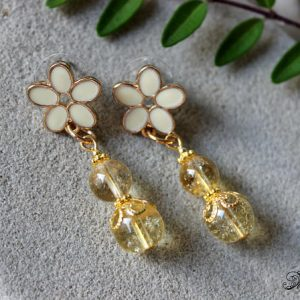 Citrine Earrings, Citrine Stud Earrings, Genuine Citrine Jewelry, Flower Earrings, Dangle Citrine Earrings, Yellow Bead Earrings, Citrine