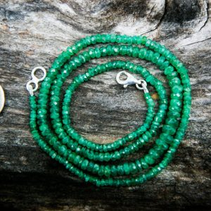 Emerald Necklace – Natural Emerald Micro Facet  – Natural Emerald Necklace 3-7mm Rondelle Necklace – May Birthstone Emerald Necklace Emerald