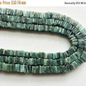 Emerald Beads, Emerald Heishi Beads, Emerald Square Spacer Beads, Emerald Green Gemstone,  6-7mm, 7 Inch Strand