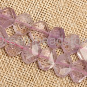 Genuine Light Purple Amethyst Crystal And Stone Faceted Hexagonal Spacer Beads (jdy517)