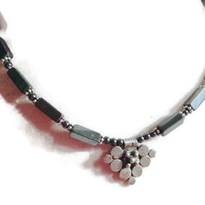 Hematite Necklace – Sterling Silver Jewelry – Gray Gemstone Jewellery – Pendant – Beaded – Fashion