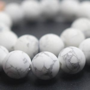 6mm / 8mm / 10mm / 12mm Matte White Howlite Round Stone Beads, 15 Inches One Starand | Natural genuine round Howlite beads for beading and jewelry making.  #jewelry #beads #beadedjewelry #diyjewelry #jewelrymaking #beadstore #beading #affiliate #ad