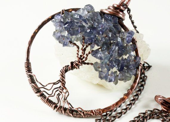 Iolite Tree Of Life Necklace Copper Wire Wrapped Violet Blue Gemstone Talisman Pendant, Holiday Gift For Her September Birthstone Gift Women