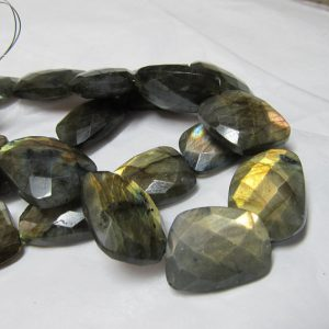Labradorite Beads 20 X 16mm Blue Flash Gray Hand Cut Faceted Lopsided Rectangles (non Matching)  – 3 Pieces