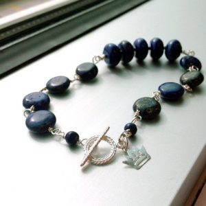 Shop Lapis Lazuli Bracelets! Lapis Bracelet Navy Blue Jewelry Sterling Silver Lapis Lazuli Natural Gemstone Jewellery Denim Bead Bar Crown Charm Toggle Layer Stack B-165 | Natural genuine Lapis Lazuli bracelets. Buy crystal jewelry, handmade handcrafted artisan jewelry for women.  Unique handmade gift ideas. #jewelry #beadedbracelets #beadedjewelry #gift #shopping #handmadejewelry #fashion #style #product #bracelets #affiliate #ad