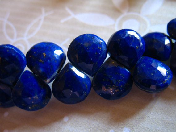 Lapis Heart Briolettes Beads, 7-8.5 Mm, Luxe Aaa, September Birthstone, Natural Lapis Loose Gemstone Beads, Faceted Heart Brides Bridal 78 T
