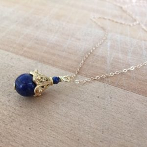 Shop Lapis Lazuli Necklaces! Lapis Necklace –  Navy Blue Jewelry – Lapis Lazuli Gemstone – Gold Chain Jewellery – Pendant | Natural genuine Lapis Lazuli necklaces. Buy crystal jewelry, handmade handcrafted artisan jewelry for women.  Unique handmade gift ideas. #jewelry #beadednecklaces #beadedjewelry #gift #shopping #handmadejewelry #fashion #style #product #necklaces #affiliate #ad