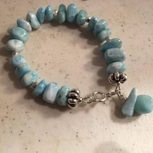 Larimar Bracelet – Blue Gemstone Jewellery – Sterling Silver Jewelry – Beaded – Pastel