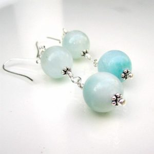 Larimar Earrings – Blue Gemstone Jewellery – Sterling Silver Jewelry – Handcrafted – Dangle – Minimal Er-69