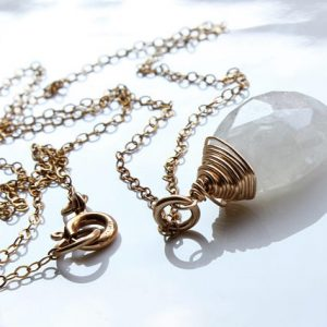 Moonstone Necklace, Goldfilled Wire Wrap Milky White Gemstone, Solitaire Necklace, Simple Minimalist Necklace, June Birthstone, Gift, 2510